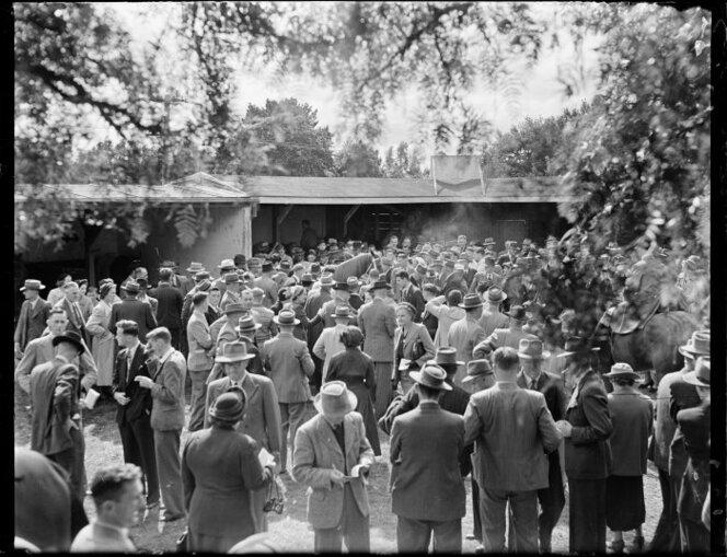 Mainbrace' surrounded by the crowd after winning the Awapuni Gold Cup. Photograph taken 23 Apr 1951.jpg