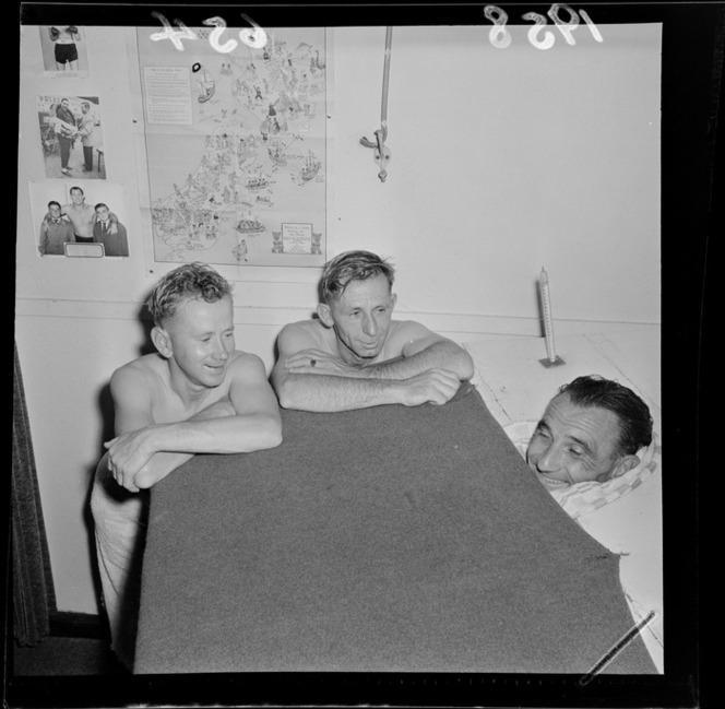 1958 Evening Post Wellington Unnamed jockeys at Koslman's Gymnasium.jpg