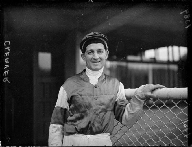 The jockey Mr Cleaver on the first day of the races at Trentham race course. Photograph taken circa 19 July 1951 by an Evening Post photographer..jpg