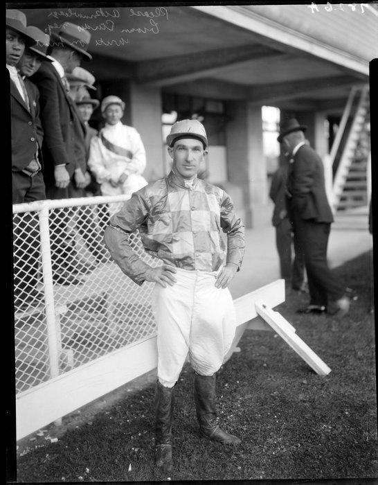 1930 Unidentified jockey Goldfinch at Wellington races.jpg