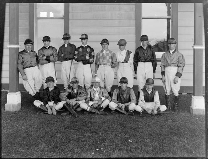 1930 A group of jockeys dressed in their uniforms for racing, location unidentified The Press Christchurch.jpg