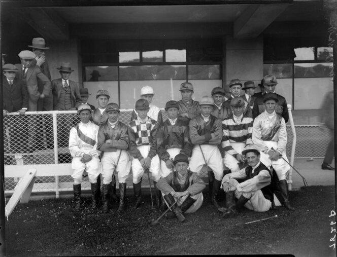 1930 Unidentified group of jockeys at Wellington races.jpg