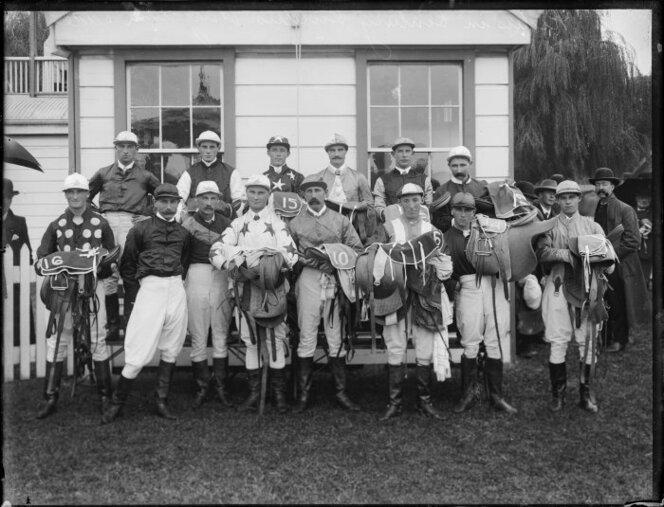 1904 Leading hurdle and steepchase jockeys, 1904, many of whom won at Thames.jpg