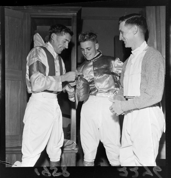 5th July 1958 Three unidentified Jockeys at Trentham, Upper Hutt.jpg