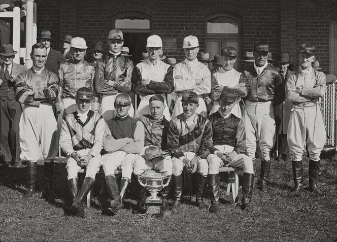 Possibly 1936 Group portrait of jockeys who competed for maybe the Duke of Gloucester Cup in Canterbury.jpg
