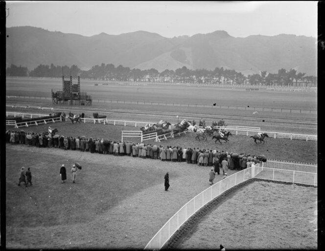 The finish of a steeplechasing race on the first day of the races at Trentham race course. Photograph taken circa 19 July 1951.jpg